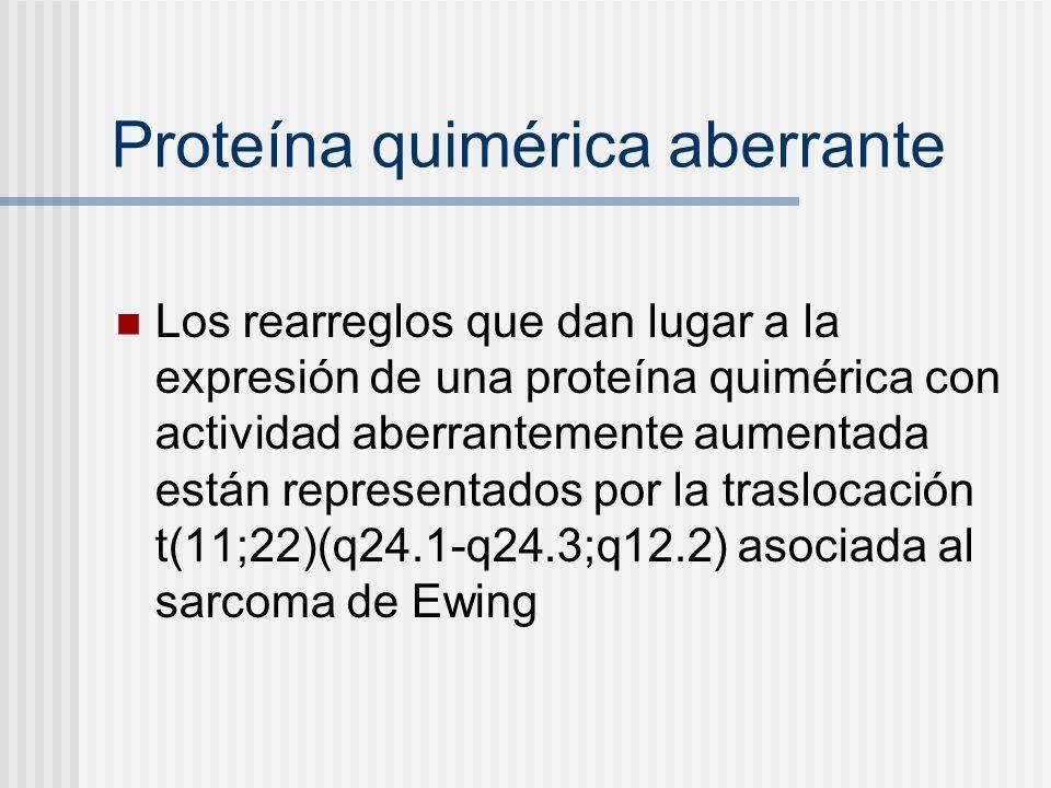 Proteína quimérica aberrante Los rearreglos que dan lugar a la expresión de una proteína quimérica con actividad aberrantemente aumentada están repres