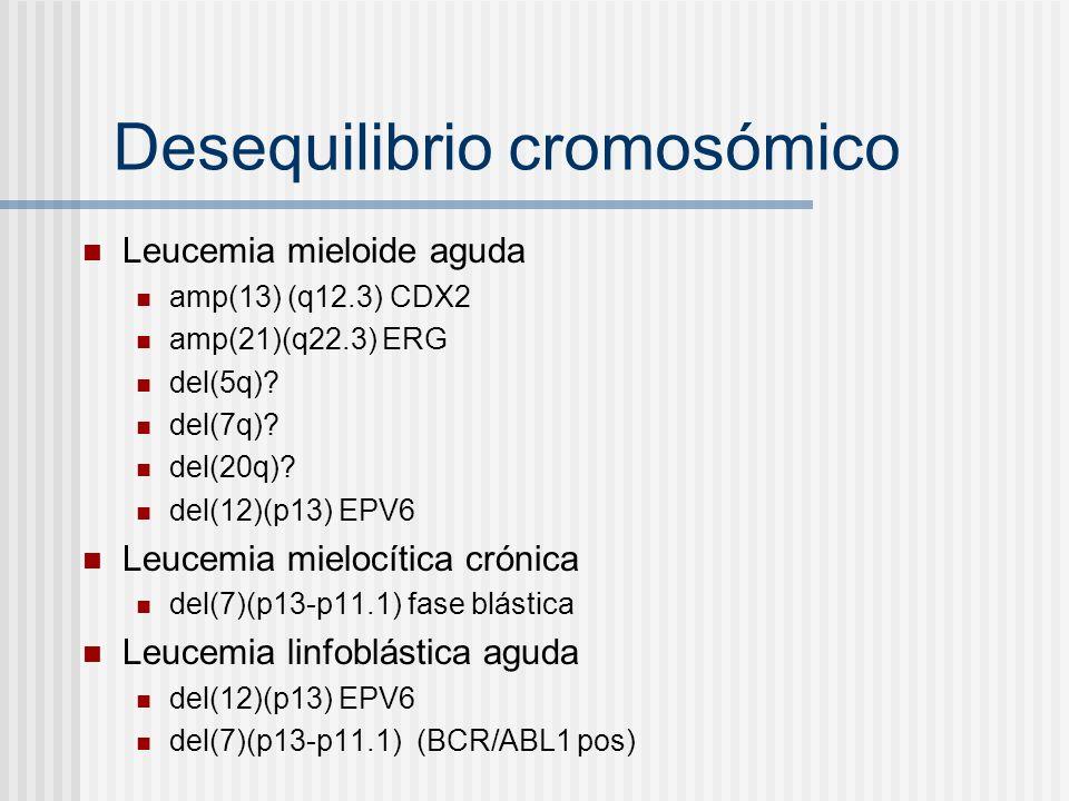Desequilibrio cromosómico Leucemia mieloide aguda amp(13) (q12.3) CDX2 amp(21)(q22.3) ERG del(5q)? del(7q)? del(20q)? del(12)(p13) EPV6 Leucemia mielo