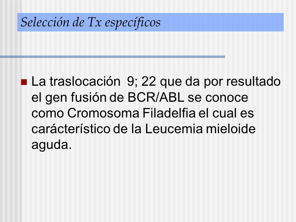 Selección de Tx específicos La traslocación 9; 22 que da por resultado el gen fusión de BCR/ABL se conoce como Cromosoma Filadelfia el cual es carácte