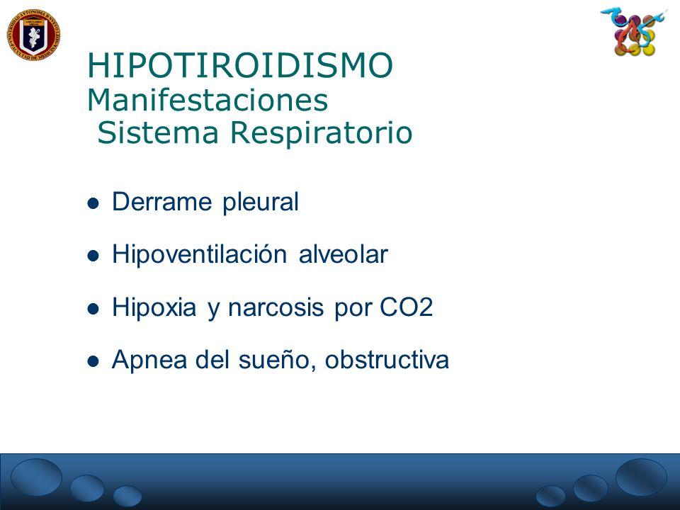 HIPOTIROIDISMO Manifestaciones Sistema Respiratorio Derrame pleural Hipoventilación alveolar Hipoxia y narcosis por CO2 Apnea del sueño, obstructiva