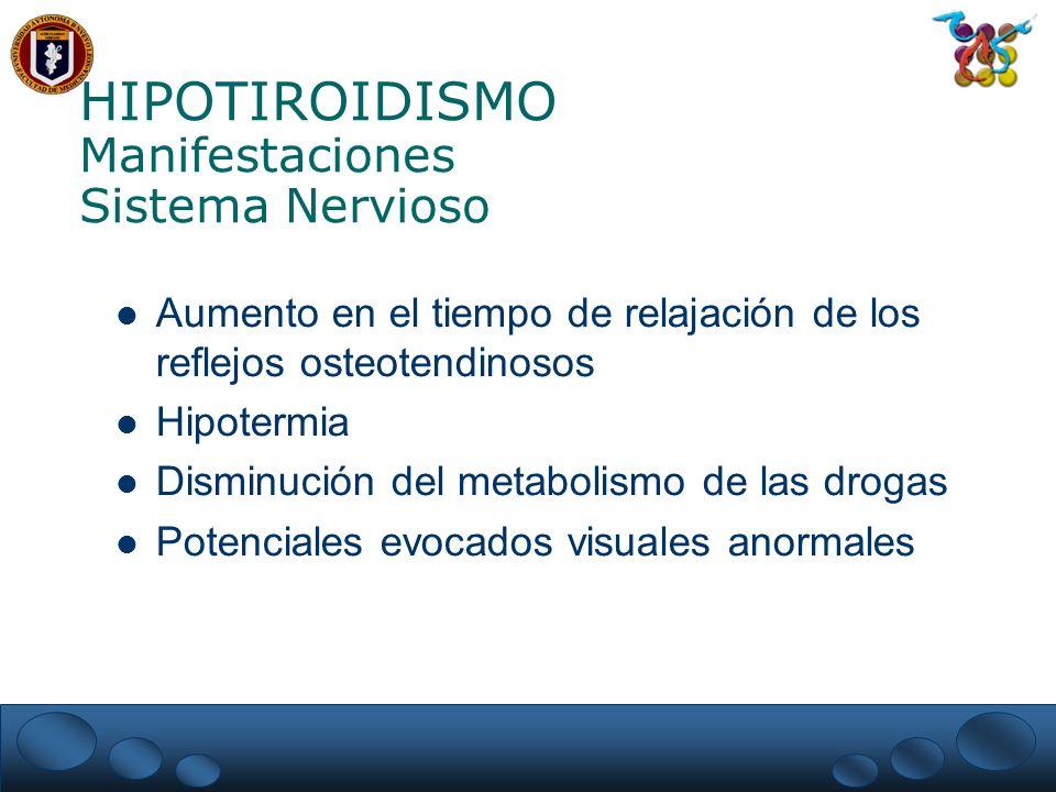 HIPOTIROIDISMO Manifestaciones Sistema Nervioso Aumento en el tiempo de relajación de los reflejos osteotendinosos Hipotermia Disminución del metabolismo de las drogas Potenciales evocados visuales anormales