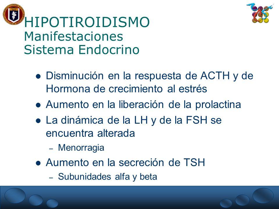 HIPOTIROIDISMO Manifestaciones Sistema Endocrino Disminución en la respuesta de ACTH y de Hormona de crecimiento al estrés Aumento en la liberación de la prolactina La dinámica de la LH y de la FSH se encuentra alterada – Menorragia Aumento en la secreción de TSH – Subunidades alfa y beta