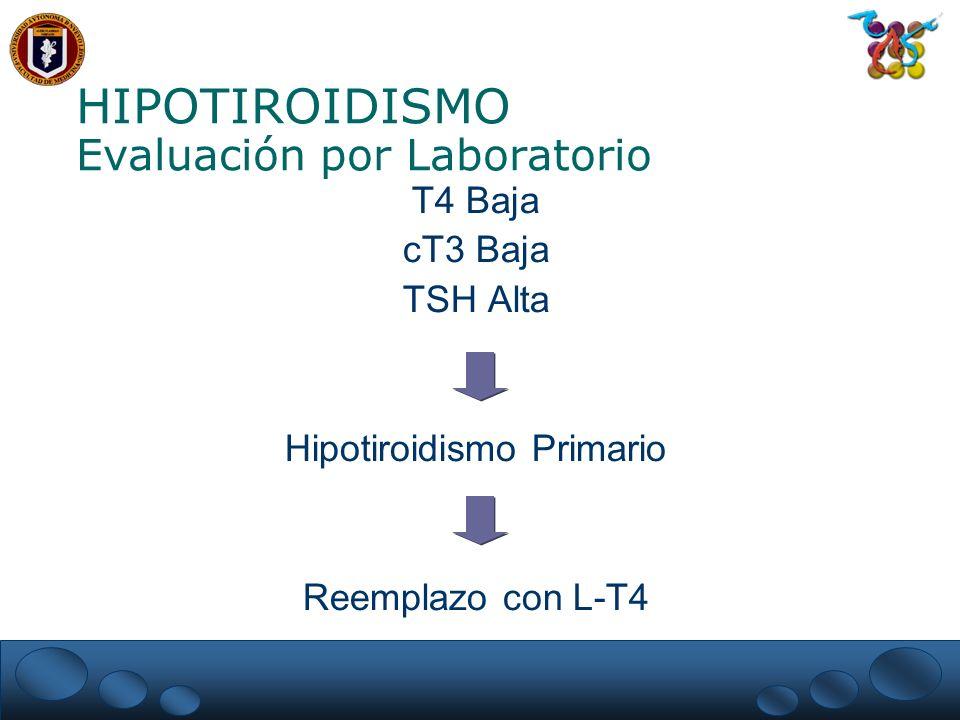 HIPOTIROIDISMO Evaluación por Laboratorio T4 Baja cT3 Baja TSH Alta Hipotiroidismo Primario Reemplazo con L-T4