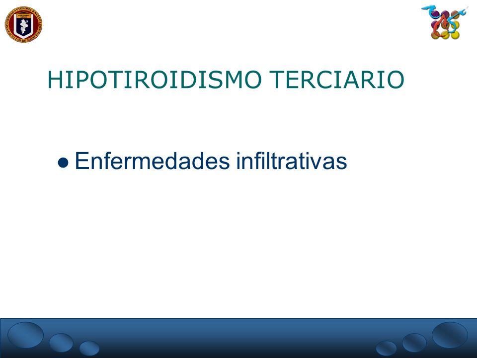 HIPOTIROIDISMO Manifestaciones en piel Mixedema – Aumento del ácido hialurónico Palidez e hipercarotenemia Hiperqueratosis e hipohidrosis Heridas curan lentamente Equimosis y fragilidad capilar