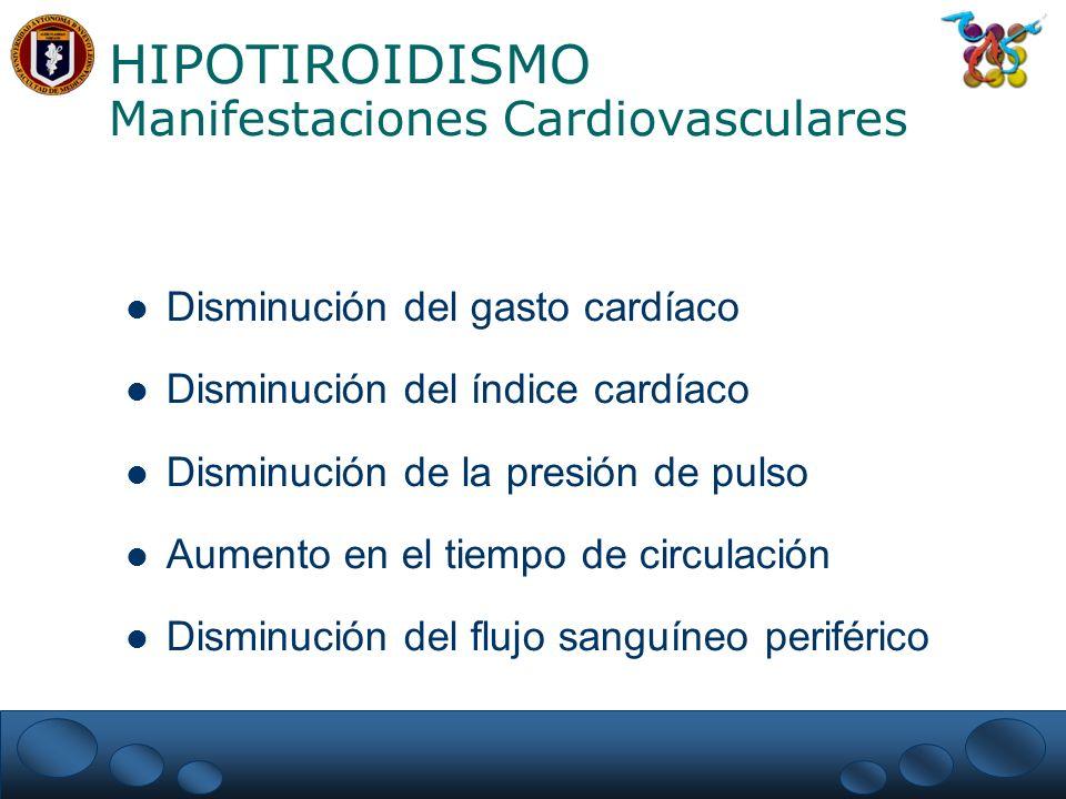 HIPOTIROIDISMO Manifestaciones Cardiovasculares Disminución del gasto cardíaco Disminución del índice cardíaco Disminución de la presión de pulso Aumento en el tiempo de circulación Disminución del flujo sanguíneo periférico