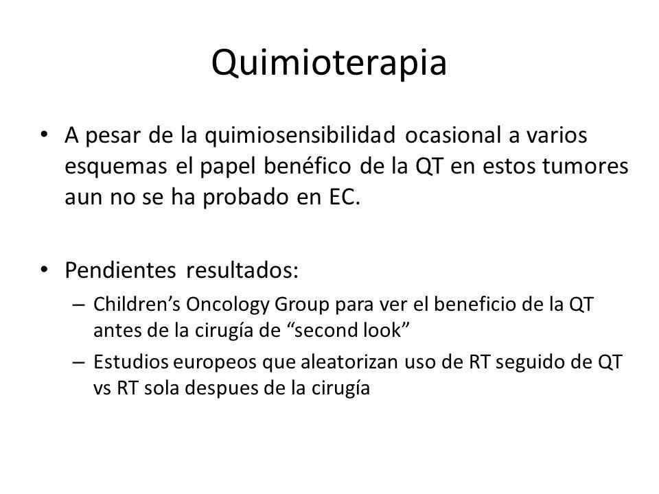 Quimioterapia A pesar de la quimiosensibilidad ocasional a varios esquemas el papel benéfico de la QT en estos tumores aun no se ha probado en EC. Pen