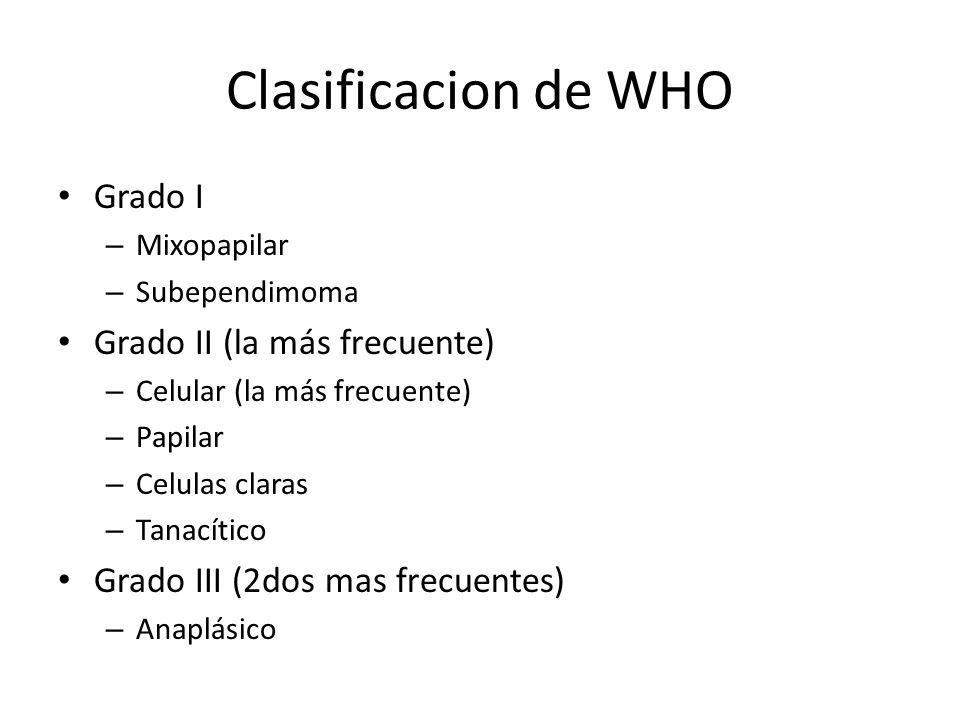 Clasificacion de WHO Grado I – Mixopapilar – Subependimoma Grado II (la más frecuente) – Celular (la más frecuente) – Papilar – Celulas claras – Tanac