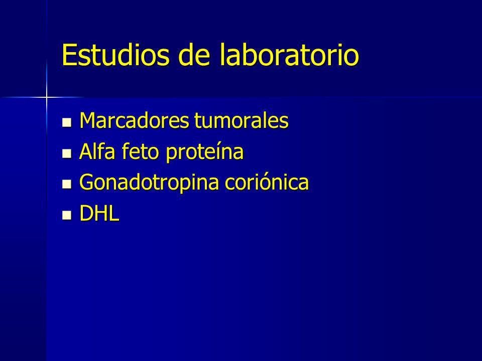 Estudios de laboratorio Marcadores tumorales Marcadores tumorales Alfa feto proteína Alfa feto proteína Gonadotropina coriónica Gonadotropina coriónic
