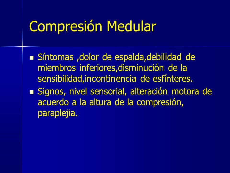 Compresión Medular Síntomas,dolor de espalda,debilidad de miembros inferiores,disminución de la sensibilidad,incontinencia de esfínteres. Síntomas,dol