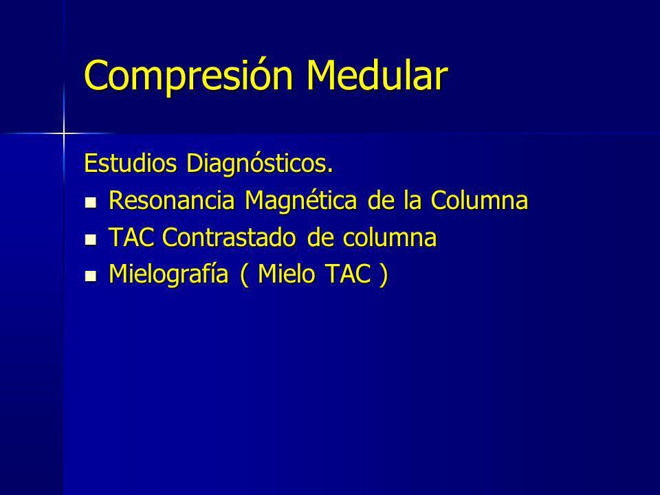 Compresión Medular Estudios Diagnósticos. Resonancia Magnética de la Columna Resonancia Magnética de la Columna TAC Contrastado de columna TAC Contras