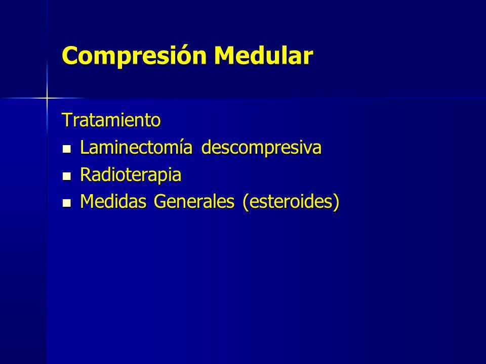 Tratamiento Laminectomía descompresiva Laminectomía descompresiva Radioterapia Radioterapia Medidas Generales (esteroides) Medidas Generales (esteroid