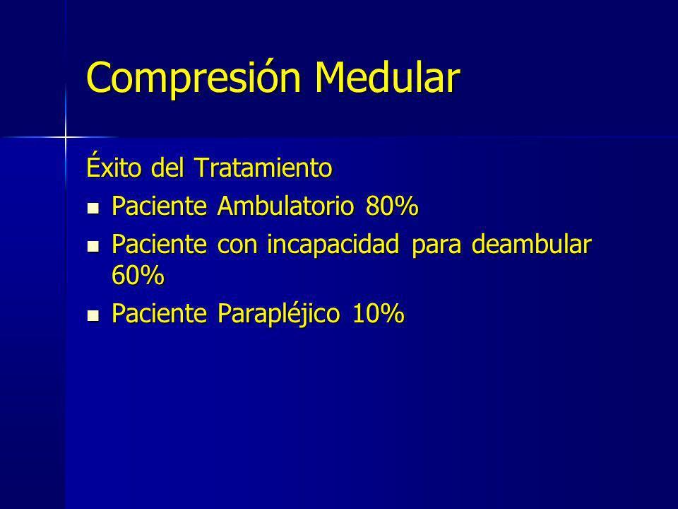 Compresión Medular Éxito del Tratamiento Paciente Ambulatorio 80% Paciente Ambulatorio 80% Paciente con incapacidad para deambular 60% Paciente con in