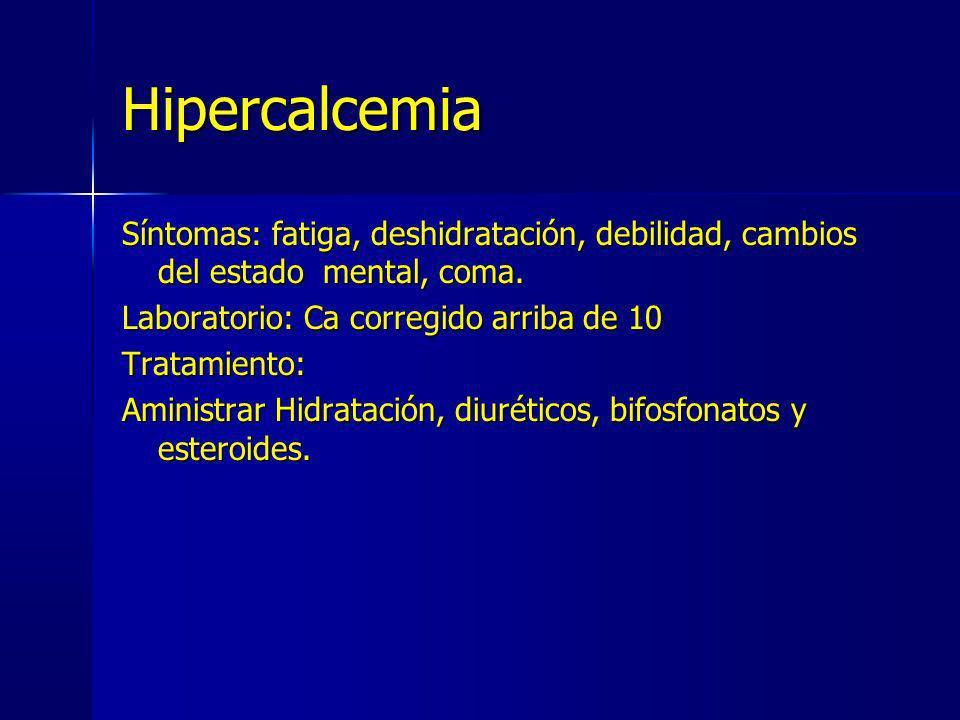 Hipercalcemia Síntomas: fatiga, deshidratación, debilidad, cambios del estado mental, coma. Laboratorio: Ca corregido arriba de 10 Tratamiento: Aminis