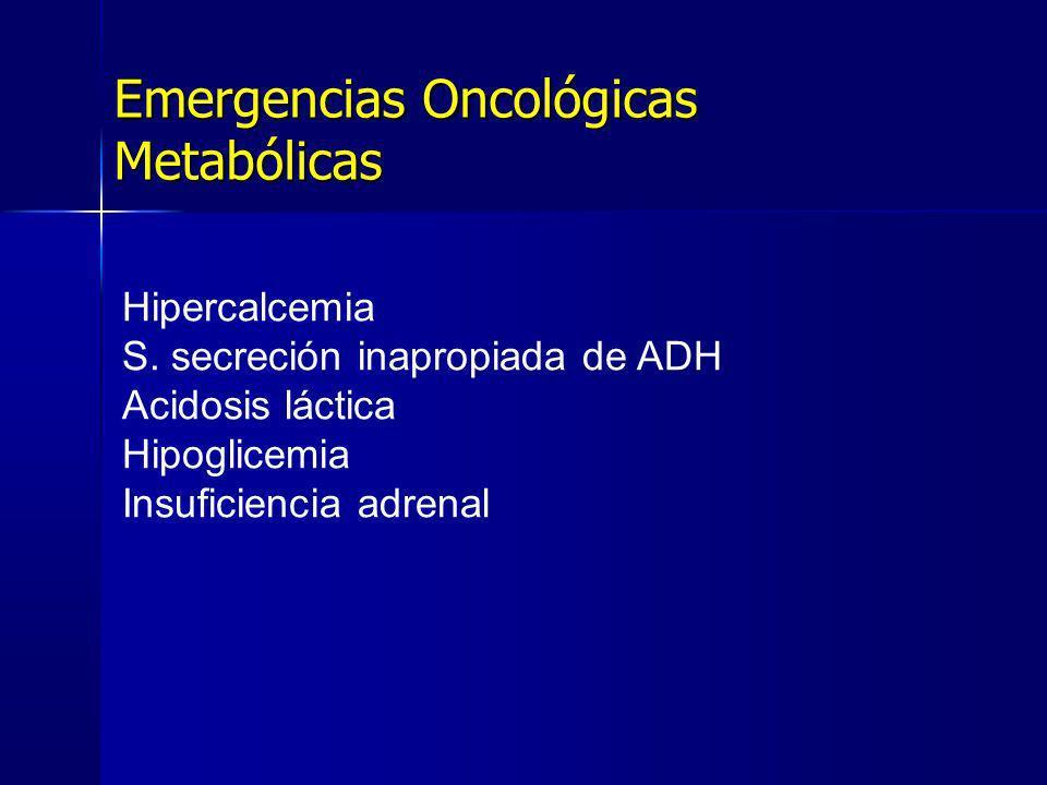 Emergencias Oncológicas Metabólicas Hipercalcemia S. secreción inapropiada de ADH Acidosis láctica Hipoglicemia Insuficiencia adrenal