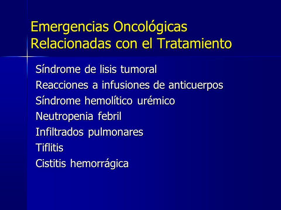 Síndrome de lisis tumoral Reacciones a infusiones de anticuerpos Síndrome hemolítico urémico Neutropenia febril Infiltrados pulmonares Tiflitis Cistit