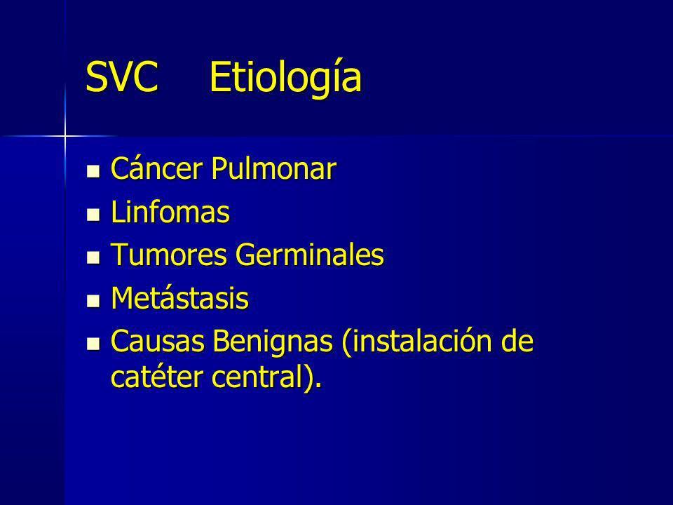 SVC Etiología Cáncer Pulmonar Cáncer Pulmonar Linfomas Linfomas Tumores Germinales Tumores Germinales Metástasis Metástasis Causas Benignas (instalaci