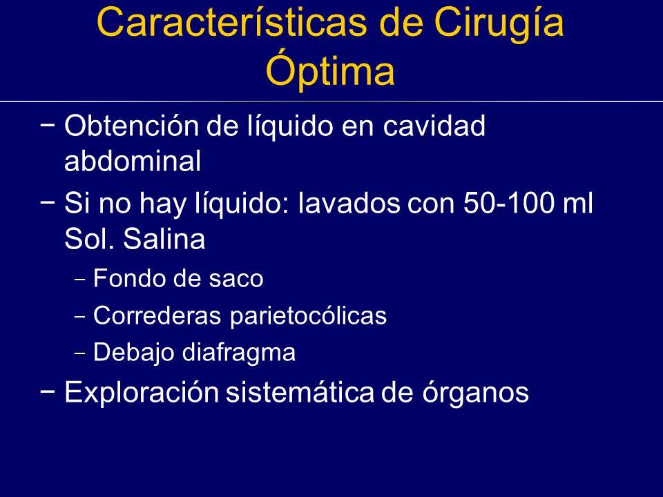 Características de Cirugía Óptima Obtención de líquido en cavidad abdominal Si no hay líquido: lavados con 50-100 ml Sol. Salina - Fondo de saco - Cor