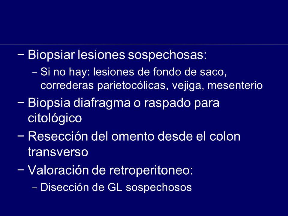 Biopsiar lesiones sospechosas: - Si no hay: lesiones de fondo de saco, correderas parietocólicas, vejiga, mesenterio Biopsia diafragma o raspado para