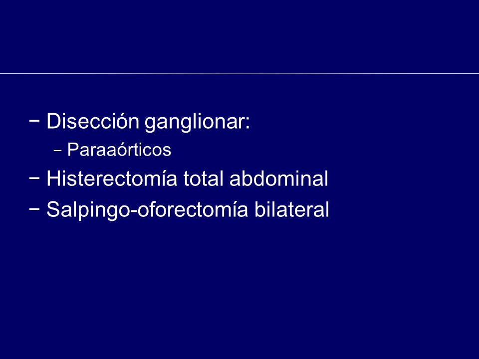Disección ganglionar: - Paraaórticos Histerectomía total abdominal Salpingo-oforectomía bilateral