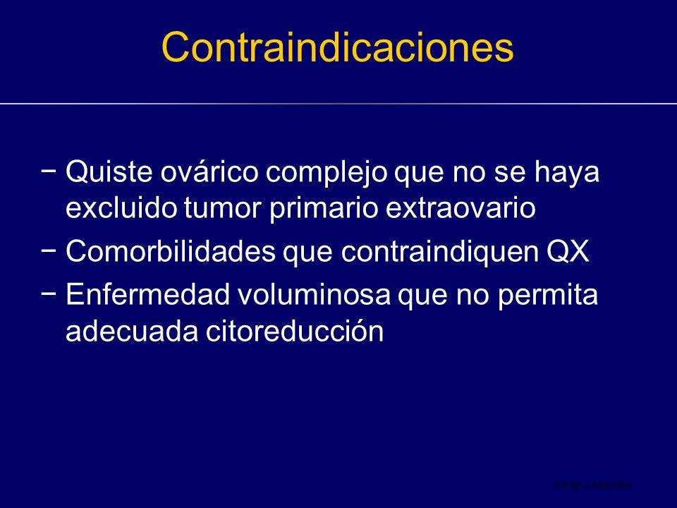 Contraindicaciones Quiste ovárico complejo que no se haya excluido tumor primario extraovario Comorbilidades que contraindiquen QX Enfermedad volumino