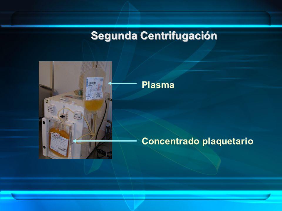 Segunda Centrifugación Plasma Concentrado plaquetario