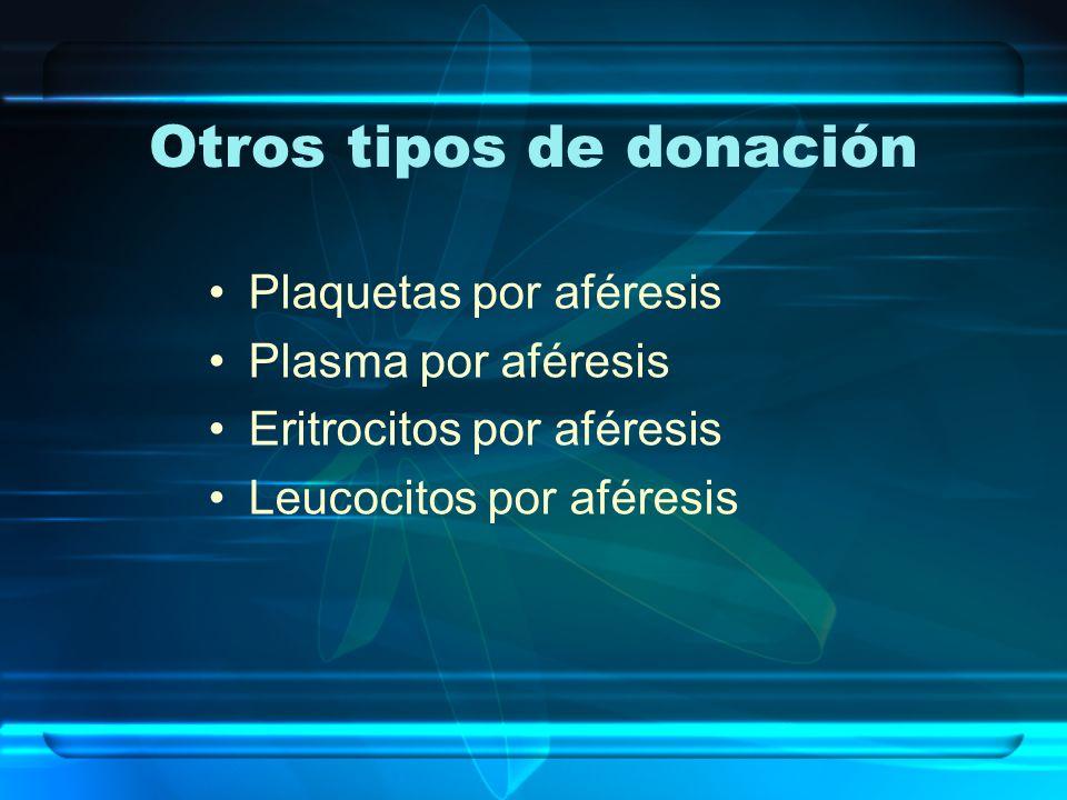 Otros tipos de donación Plaquetas por aféresis Plasma por aféresis Eritrocitos por aféresis Leucocitos por aféresis