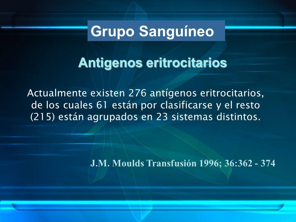 Antigenos eritrocitarios Actualmente existen 276 antígenos eritrocitarios, de los cuales 61 están por clasificarse y el resto (215) están agrupados en