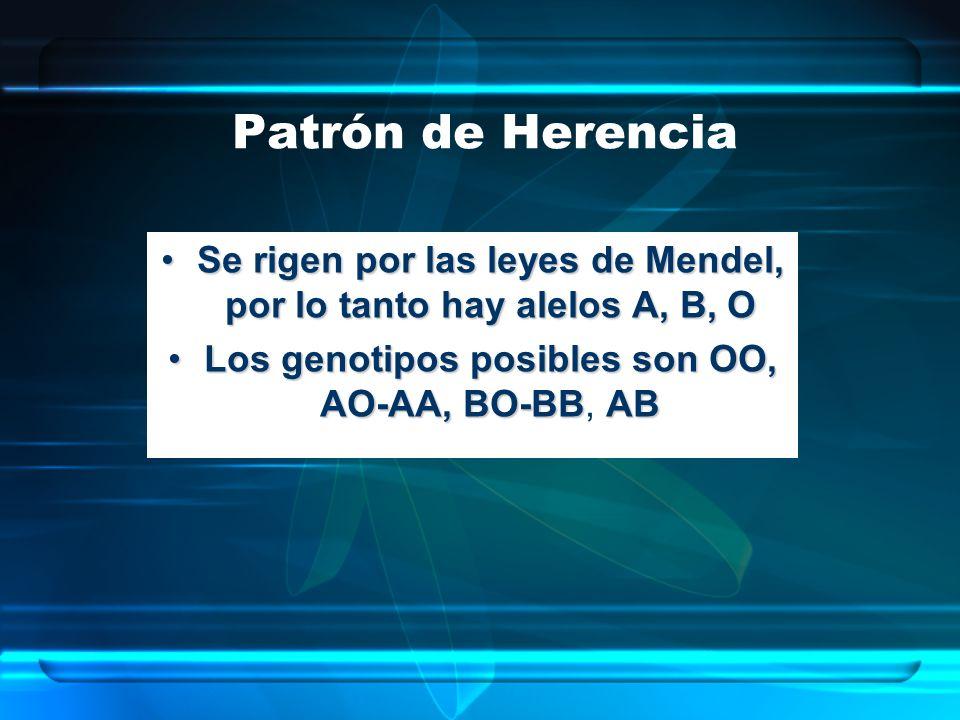 Patrón de Herencia Se rigen por las leyes de Mendel, por lo tanto hay alelos A, B, OSe rigen por las leyes de Mendel, por lo tanto hay alelos A, B, O