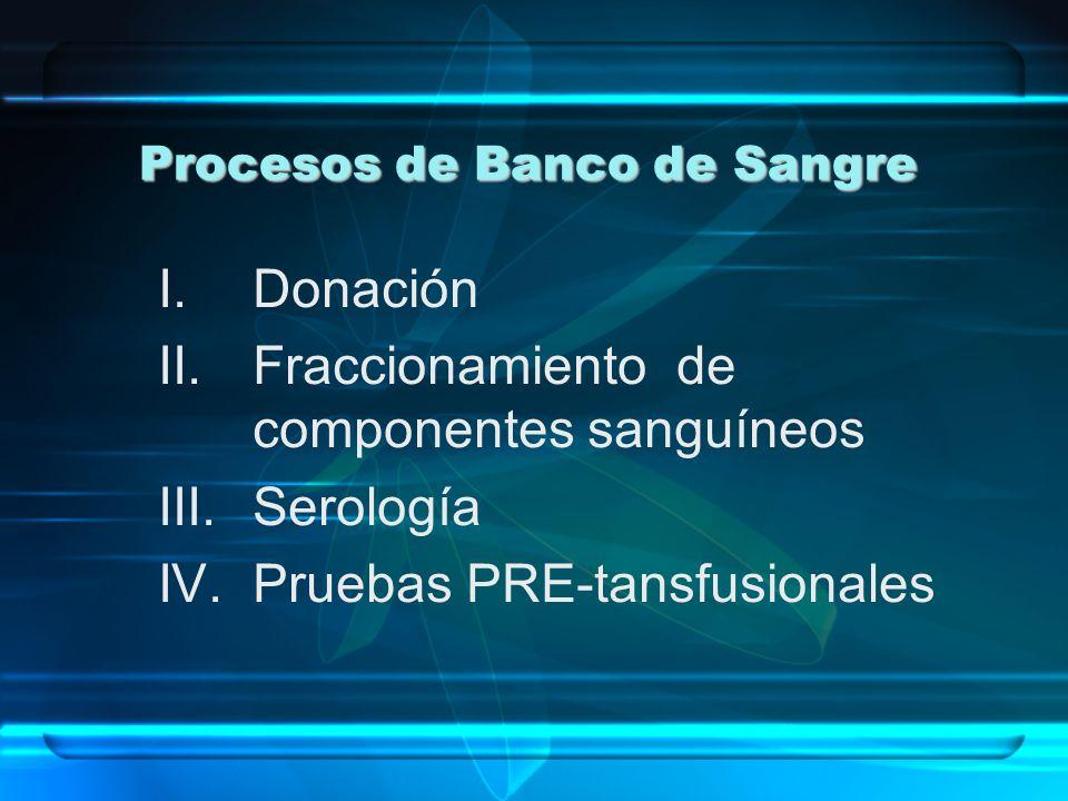 Procesos de Banco de Sangre I.Donación II.Fraccionamiento de componentes sanguíneos III.Serología IV.Pruebas PRE-tansfusionales