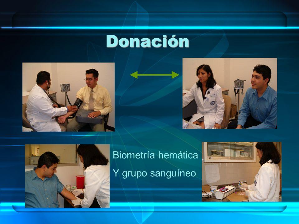Biometría hemática Y grupo sanguíneo Donación