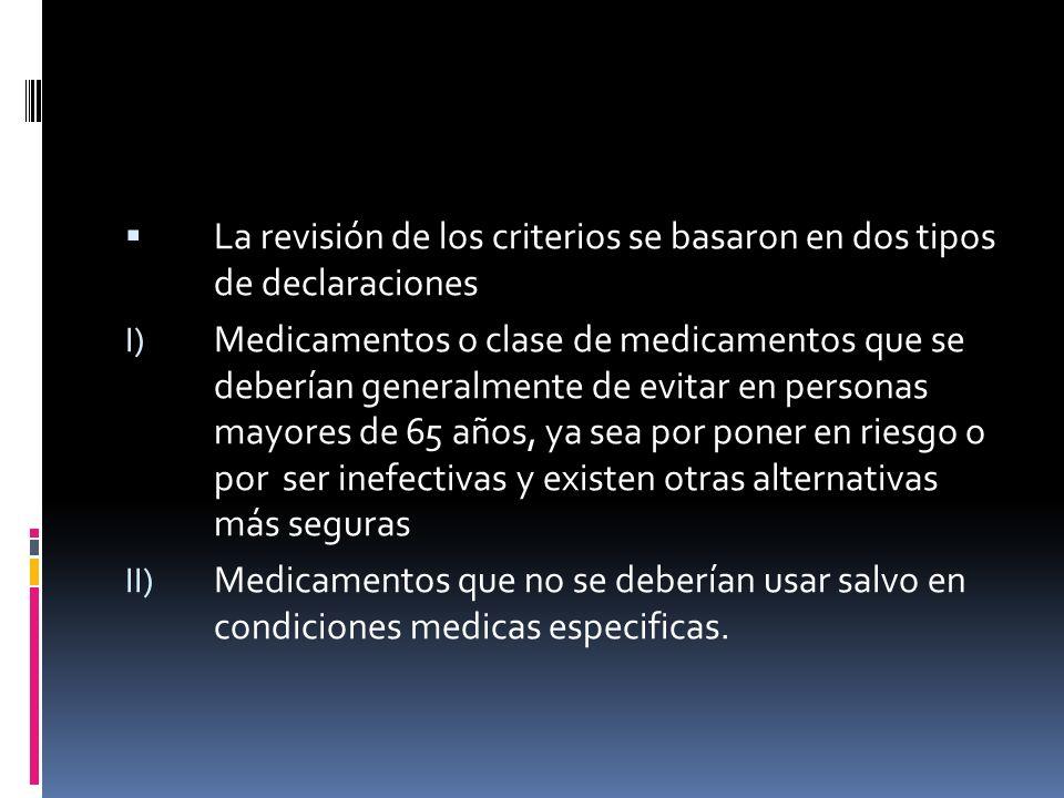 La revisión de los criterios se basaron en dos tipos de declaraciones I) Medicamentos o clase de medicamentos que se deberían generalmente de evitar e