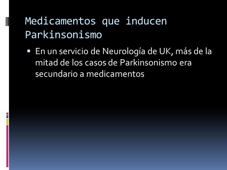 Medicamentos que inducen Parkinsonismo En un servicio de Neurología de UK, más de la mitad de los casos de Parkinsonismo era secundario a medicamentos