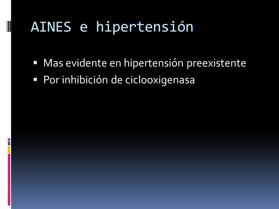 AINES e hipertensión Mas evidente en hipertensión preexistente Por inhibición de ciclooxigenasa