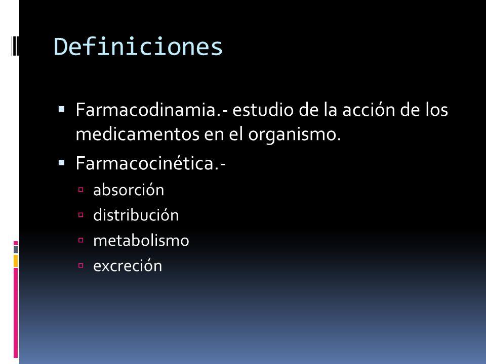Definiciones Farmacodinamia.- estudio de la acción de los medicamentos en el organismo. Farmacocinética.- absorción distribución metabolismo excreción
