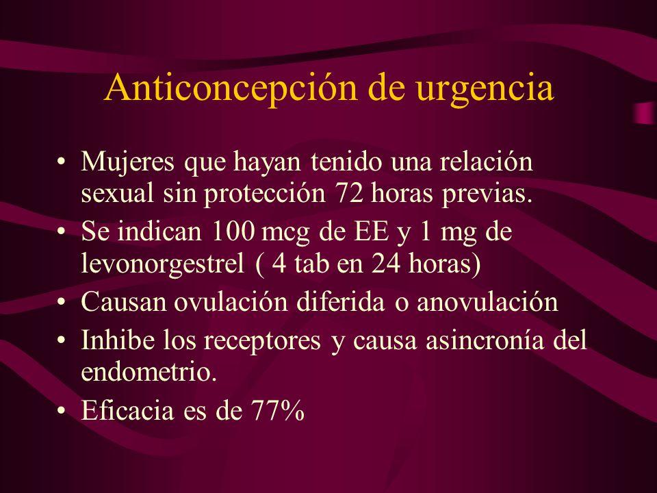 Anticoncepción de urgencia Mujeres que hayan tenido una relación sexual sin protección 72 horas previas. Se indican 100 mcg de EE y 1 mg de levonorges