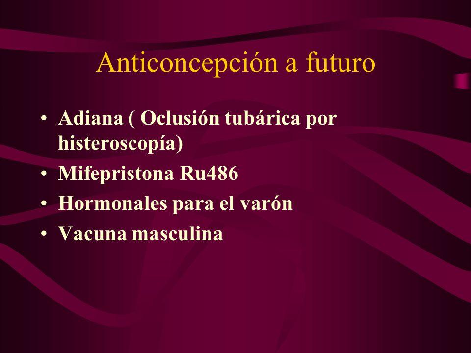 Anticoncepción a futuro Adiana ( Oclusión tubárica por histeroscopía) Mifepristona Ru486 Hormonales para el varón Vacuna masculina