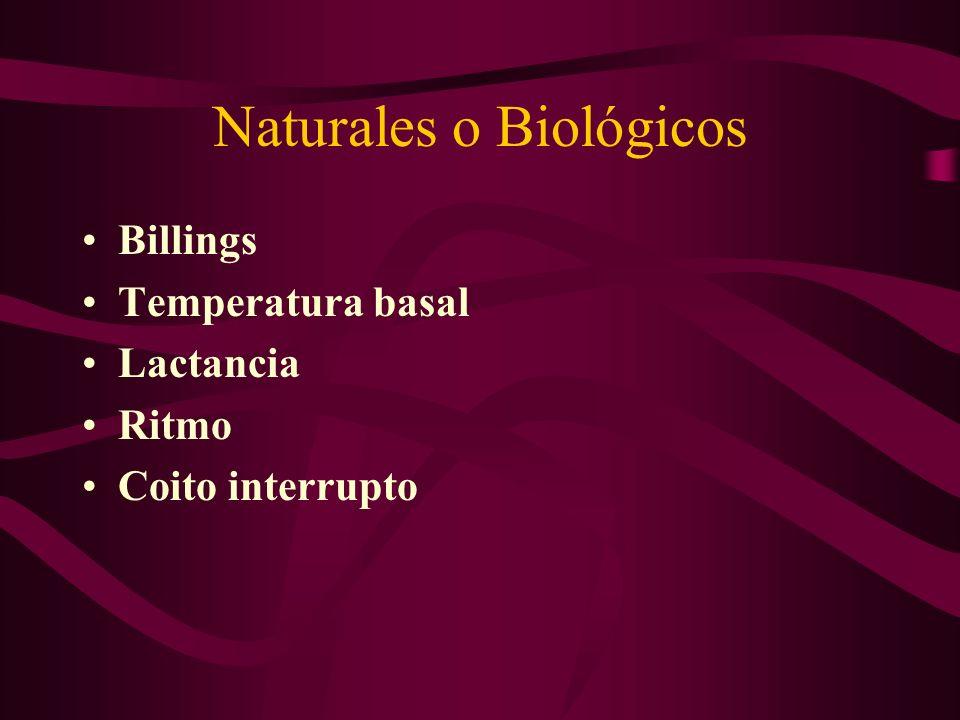 Naturales o Biológicos Billings Temperatura basal Lactancia Ritmo Coito interrupto