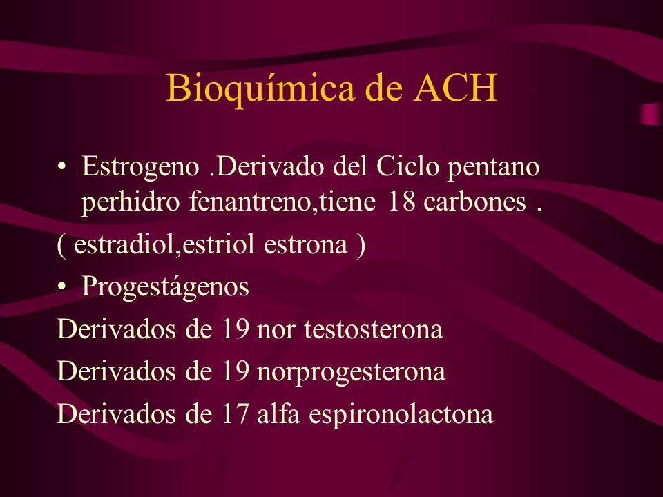 Bioquímica de ACH Estrogeno.Derivado del Ciclo pentano perhidro fenantreno,tiene 18 carbones. ( estradiol,estriol estrona ) Progestágenos Derivados de