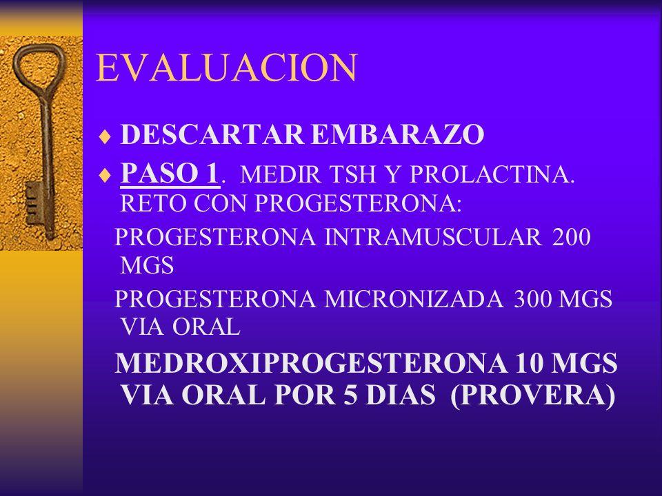 EVALUACION DESCARTAR EMBARAZO PASO 1. MEDIR TSH Y PROLACTINA. RETO CON PROGESTERONA: PROGESTERONA INTRAMUSCULAR 200 MGS PROGESTERONA MICRONIZADA 300 M