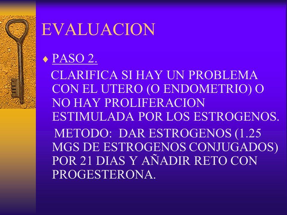 EVALUACION PASO 2. CLARIFICA SI HAY UN PROBLEMA CON EL UTERO (O ENDOMETRIO) O NO HAY PROLIFERACION ESTIMULADA POR LOS ESTROGENOS. METODO: DAR ESTROGEN