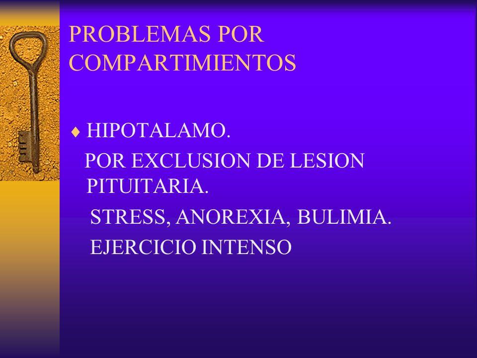 PROBLEMAS POR COMPARTIMIENTOS HIPOTALAMO. POR EXCLUSION DE LESION PITUITARIA. STRESS, ANOREXIA, BULIMIA. EJERCICIO INTENSO
