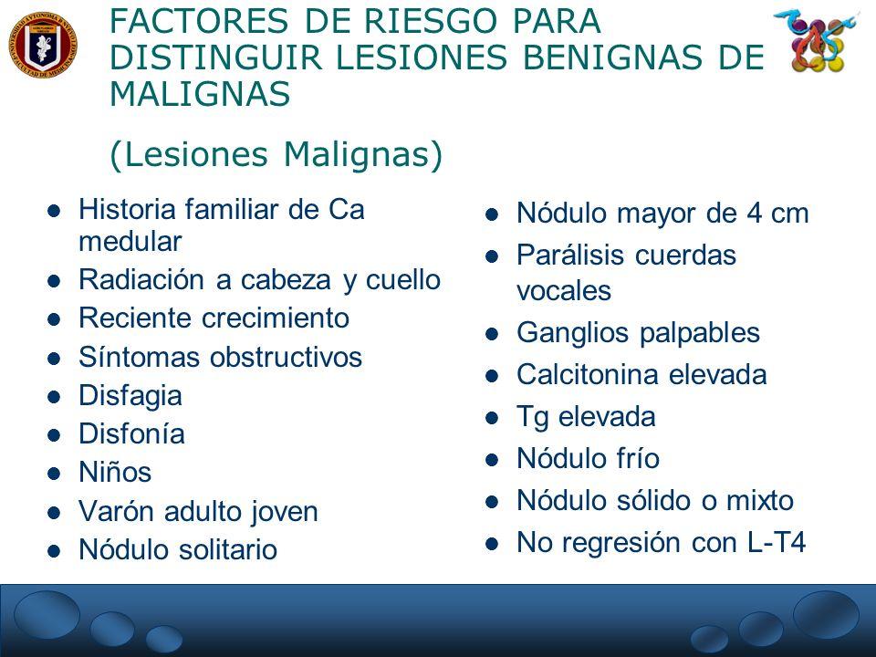FACTORES DE RIESGO PARA DISTINGUIR LESIONES BENIGNAS DE MALIGNAS (Lesiones Malignas) Historia familiar de Ca medular Radiación a cabeza y cuello Recie