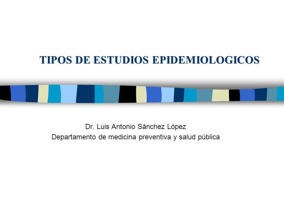 TIPOS DE ESTUDIOS EPIDEMIOLOGICOS Dr. Luis Antonio Sánchez López Departamento de medicina preventiva y salud pública