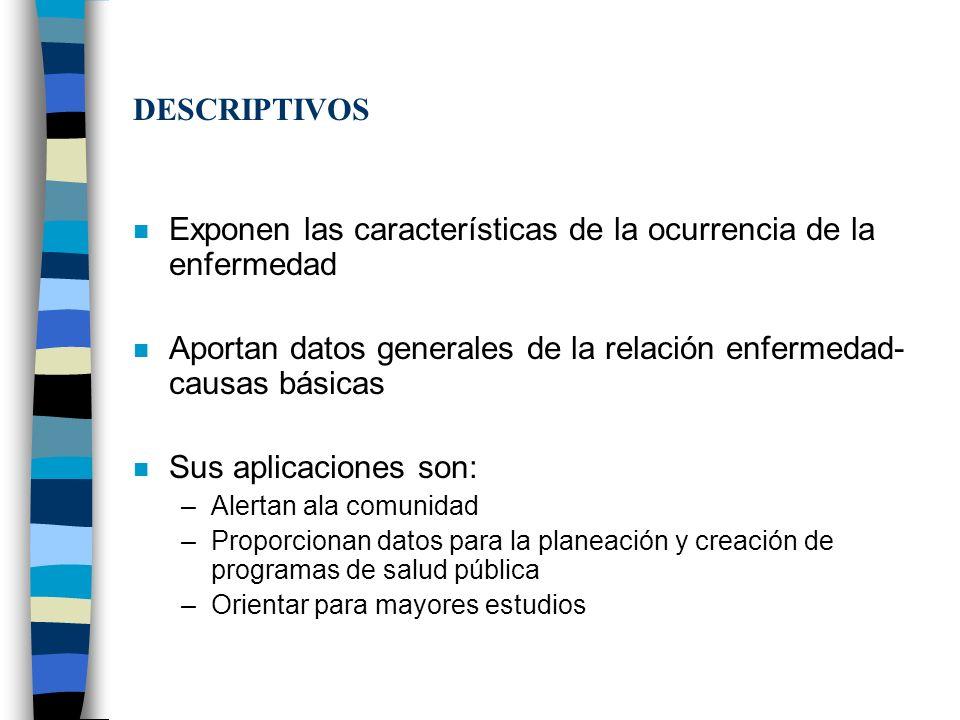 DESCRIPTIVOS n Exponen las características de la ocurrencia de la enfermedad n Aportan datos generales de la relación enfermedad- causas básicas n Sus