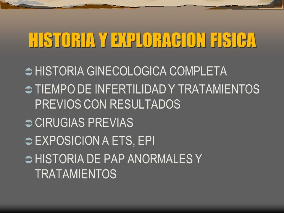 HISTORIA Y EXPLORACION FISICA HISTORIA GINECOLOGICA COMPLETA TIEMPO DE INFERTILIDAD Y TRATAMIENTOS PREVIOS CON RESULTADOS CIRUGIAS PREVIAS EXPOSICION