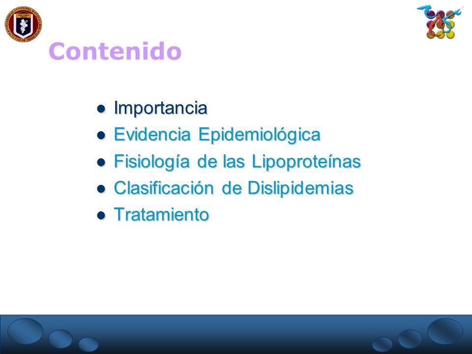 ATP III: Factores Mayores de Riesgo que no son LDL-C Tabaquismo Tabaquismo Hipertensión Arterial: TA 140/90 mm Hg o en medicamento antihipertensivo Hipertensión Arterial: TA 140/90 mm Hg o en medicamento antihipertensivo HDL-C bajo: 40 mg/dL* HDL-C bajo: 40 mg/dL* Historia Familiar de EIC (familiares directos o de 1er grado): Historia Familiar de EIC (familiares directos o de 1er grado): – Hombres con edad 55 años – Mujeres con edad 65 años Edad Edad – hombres 45 años – mujeres 55 años * HDL-C 60 mg/dL es un factor de riesgo negativo y hace que se quite otro factor de riesgo.