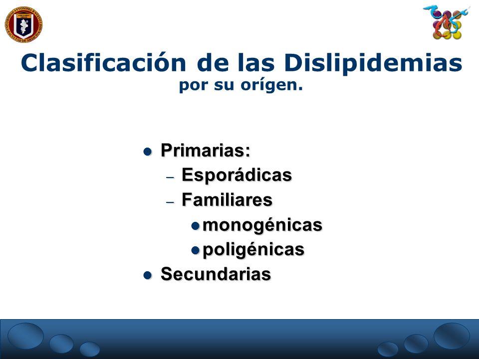 Clasificación de las Dislipidemias por su orígen. Primarias: Primarias: – Esporádicas – Familiares monogénicas monogénicas poligénicas poligénicas Sec