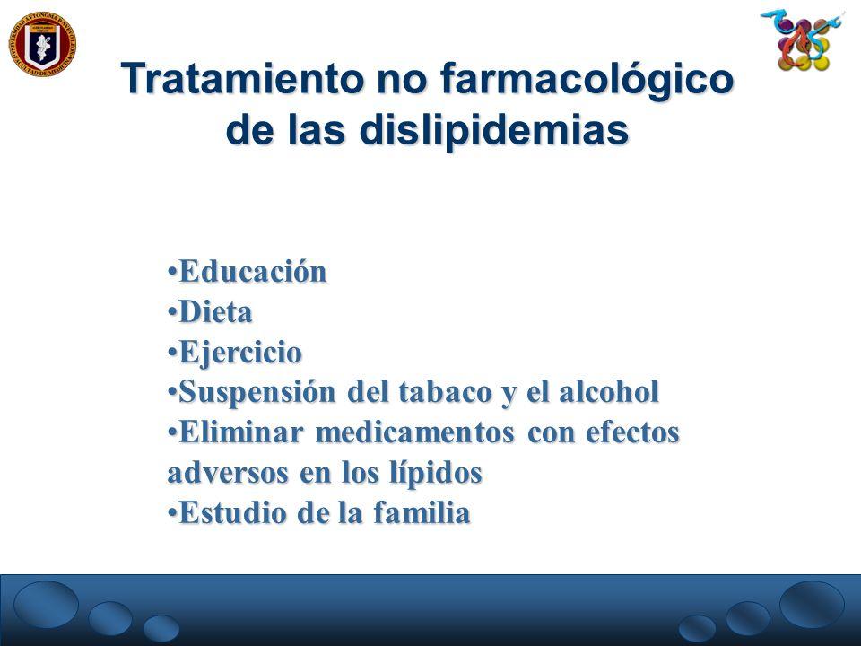 EducaciónEducación DietaDieta EjercicioEjercicio Suspensión del tabaco y el alcoholSuspensión del tabaco y el alcohol Eliminar medicamentos con efecto