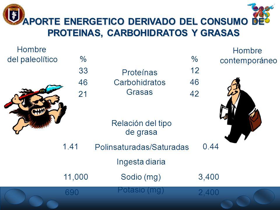 APORTE ENERGETICO DERIVADO DEL CONSUMO DE PROTEINAS, CARBOHIDRATOS Y GRASAS Proteínas Carbohidratos Grasas Relación del tipo de grasa % 33 46 21 % 12