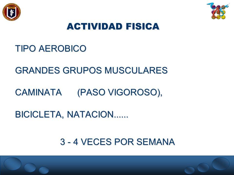 ACTIVIDAD FISICA TIPO AEROBICO GRANDES GRUPOS MUSCULARES CAMINATA (PASO VIGOROSO), BICICLETA, NATACION...... 3 - 4 VECES POR SEMANA